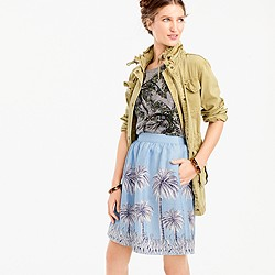 Petite linen skirt in palm tree print