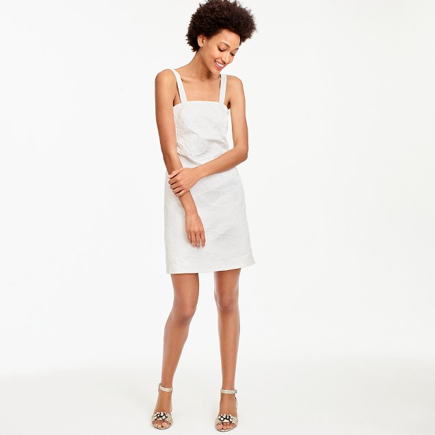 Tall convertible-strap dress in embossed floral