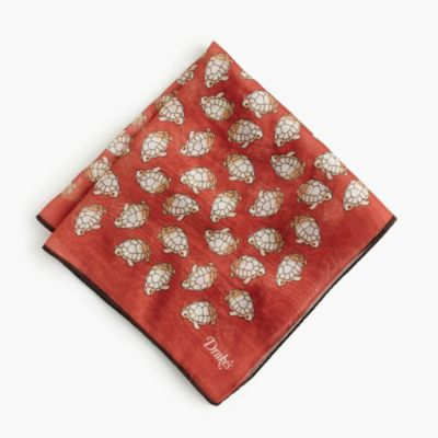Drake's® cotton-silk pocket square in turtle print