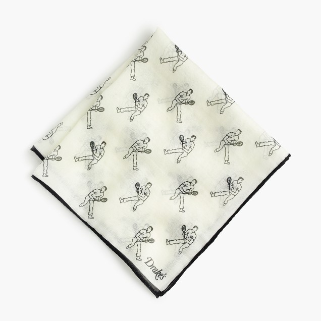 Drake's® cotton-silk pocket square in tennis player print