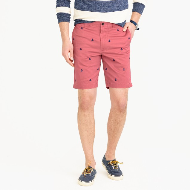 """9"""" stretch short with embroidered anchors"""