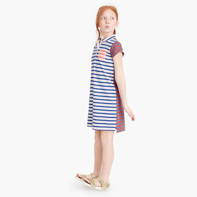 Girls' polo dress in mashup stripes
