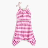 Girls' shoulder-bow striped handkerchief dress