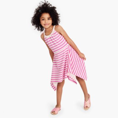 Girls' shoulder-bow striped handkerchief dress