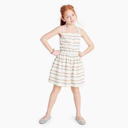 Girls' striped bow-back dress