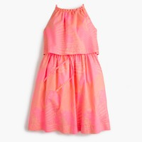 Girls' tiered dress in neon foliage print