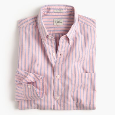Heather poplin shirt in coral stripe