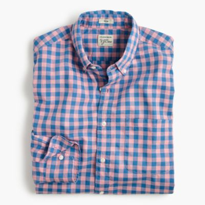 Slim heather poplin shirt in pink gingham