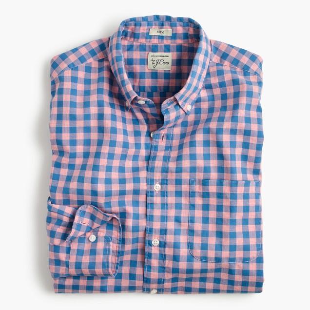 Tall heather poplin shirt in pink gingham