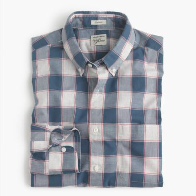 Tall heather poplin shirt in check