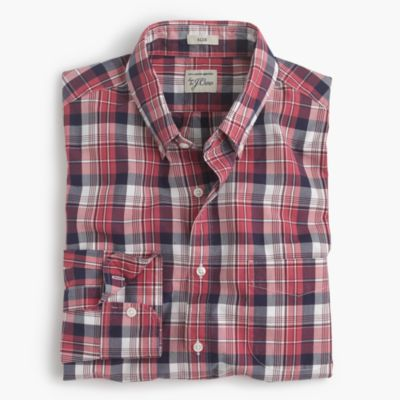 Slim Secret Wash shirt in classic red plaid