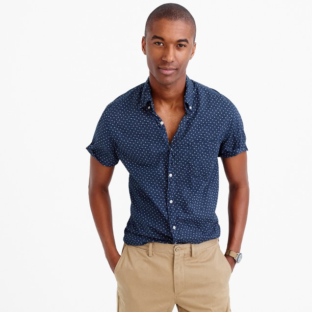 Short-sleeve slub cotton shirt in diamond pattern