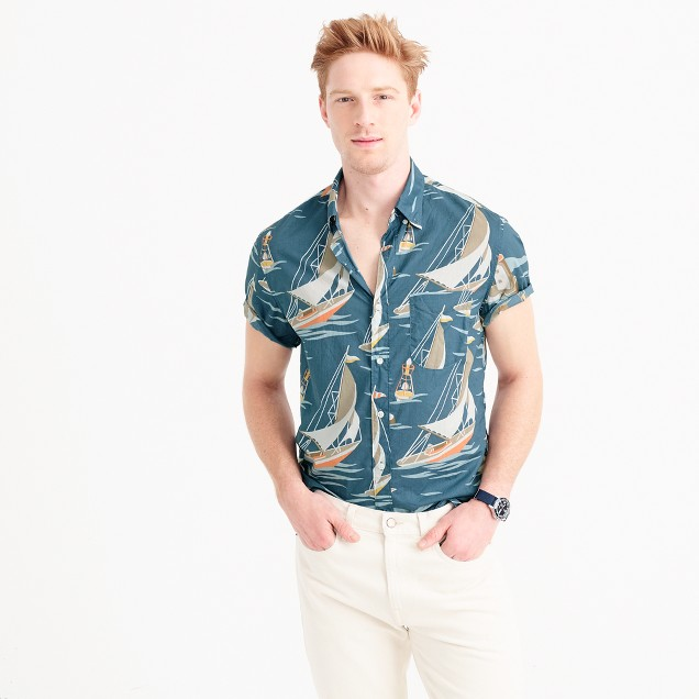 Slub cotton short-sleeve shirt in sailboat print