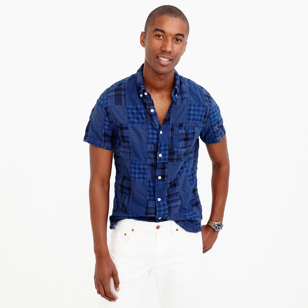 Short-sleeve Indian madras shirt in blue patchwork