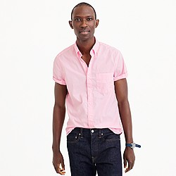 Short-sleeve garment-dyed shirt in classic pink