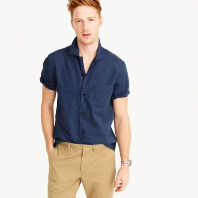 Short-sleeve camp-collar shirt in lightweight chino