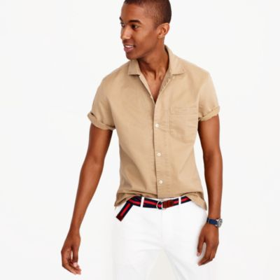Short-sleeve camp-collar shirt in broken-in chino