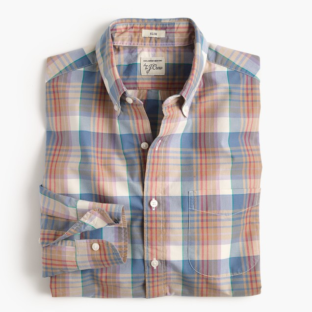 Slim Secret Wash shirt in red and blue plaid