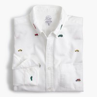 Lightweight oxford shirt in embroidered cars