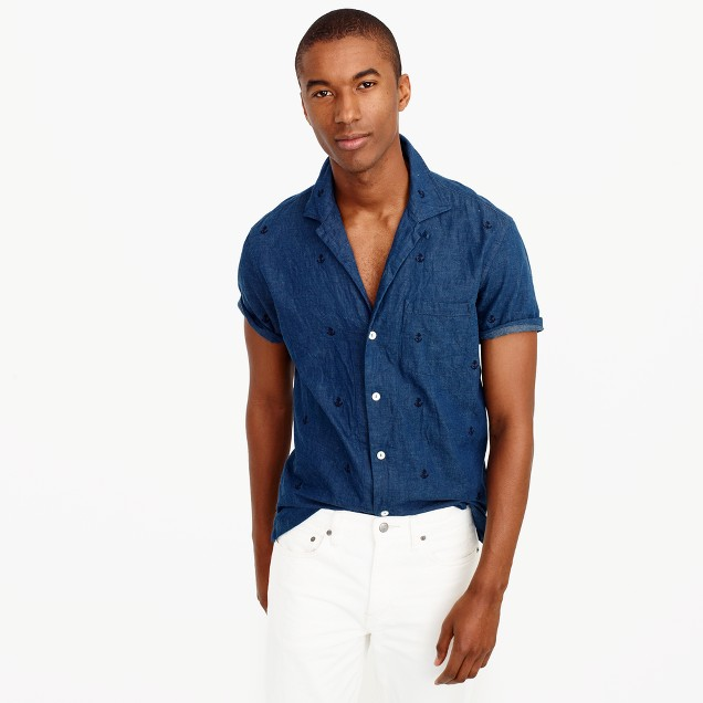 Short-sleeve camp-collar denim shirt with embroidered anchors