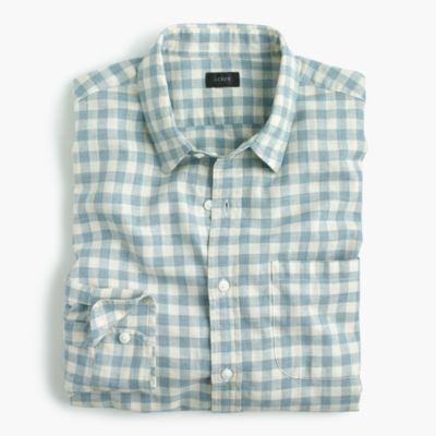 Slim slub cotton shirt in gingham