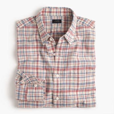 Slim slub cotton shirt in red plaid