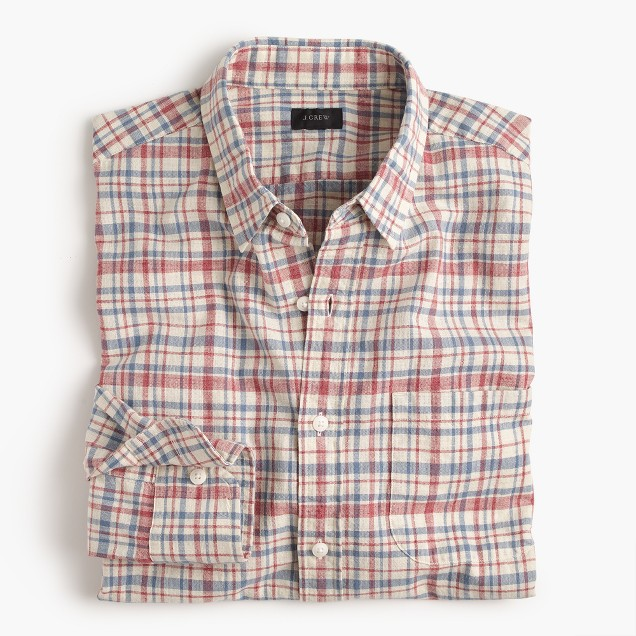 Slub cotton shirt in red plaid