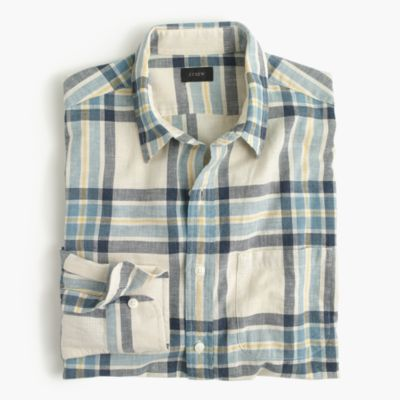 Slub cotton shirt in exploded plaid