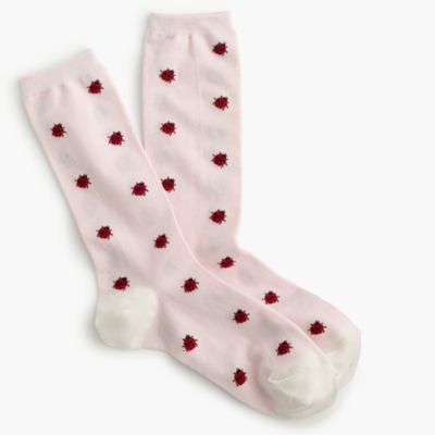 Trouser socks in ladybug print