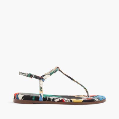 T-strap sandals in postcard print