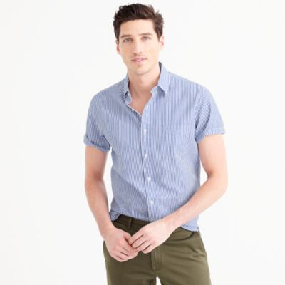 Short-sleeve shirt in seersucker