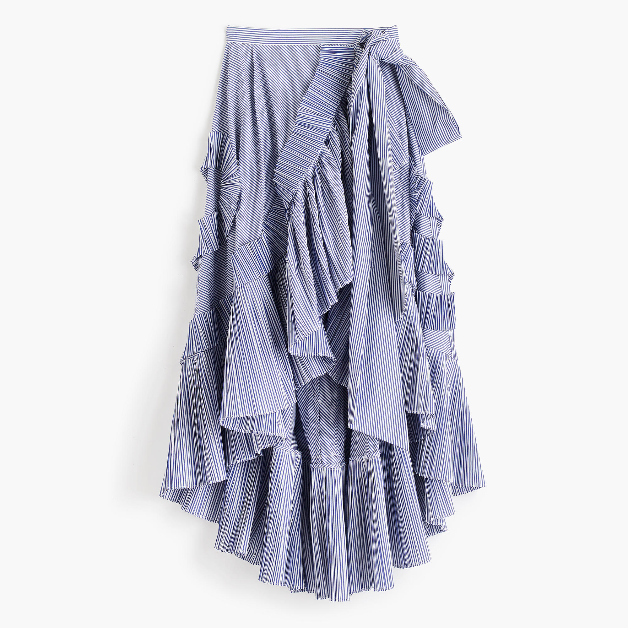 Collection ruffle skirt in striped shirting fabric : Women ...