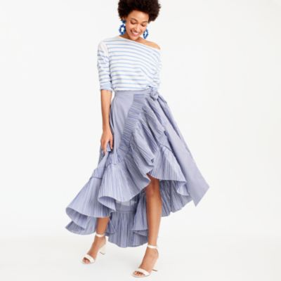 Collection ruffle skirt in striped shirting fabric