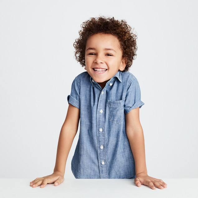 Kids' short-sleeve chambray shirt