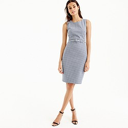 Petite belted gingham dress