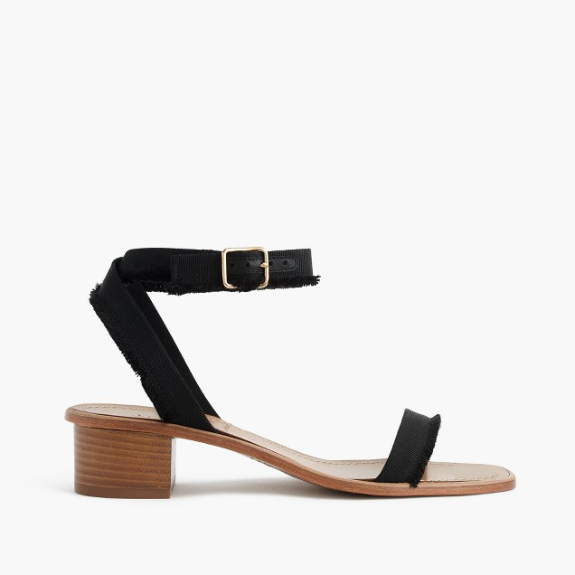 Grosgrain ribbon block-heel sandals