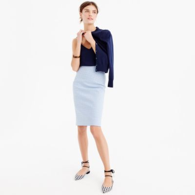 Tall No. 2 pencil skirt in gingham two-way stretch cotton