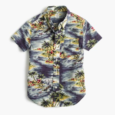 Kids' short-sleeve shirt in Hawaiian print