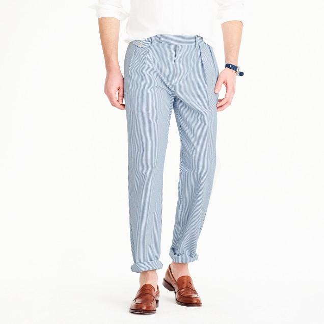 Double-pleated seersucker pant