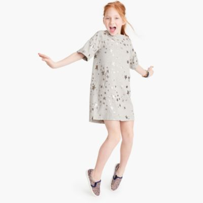 Girls' metallic star-print dress