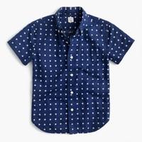 Kids' short-sleeve linen-cotton shirt in star print