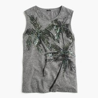 Muscle tank top in sequin palm trees