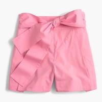 Tie-waist short in cotton poplin