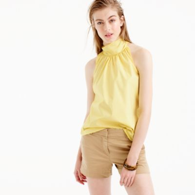 Petite tie-neck top in oxford cotton