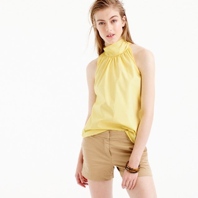 Tie-neck top in oxford cotton