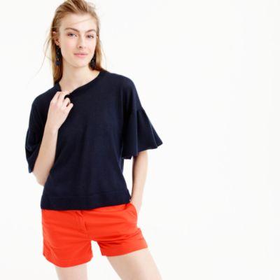 Italian featherweight cashmere ruffle-sleeve sweater