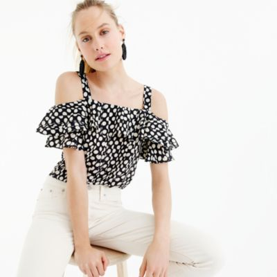 Collection silk cold-shoulder top in Ratti® polka dot