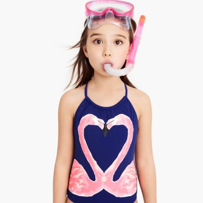 Girls' one-piece swimsuit in kissing flamingos