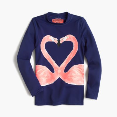 Girls' rash guard in kissing flamingos