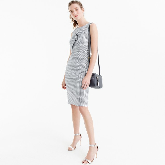 Petite drape knot windowpane dress in Irish linen